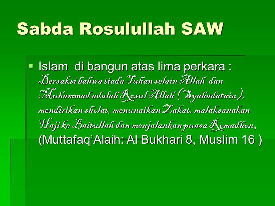 Sabda Rosulullah SAW