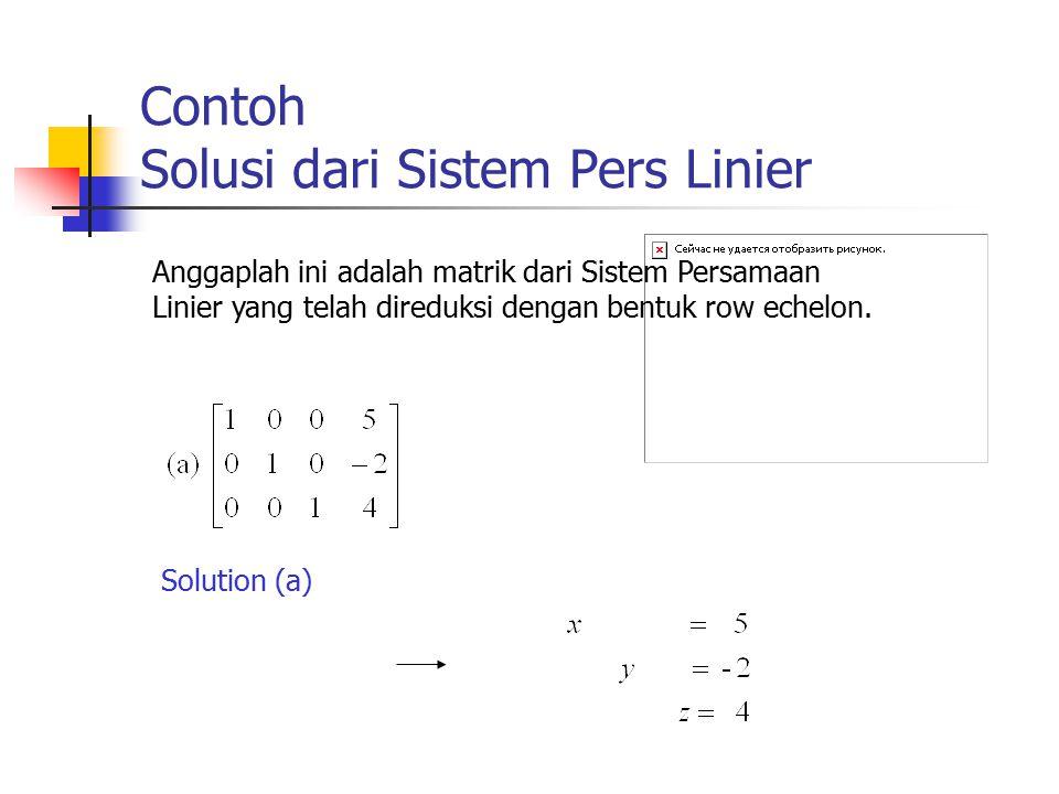 Contoh Solusi dari Sistem Pers Linier