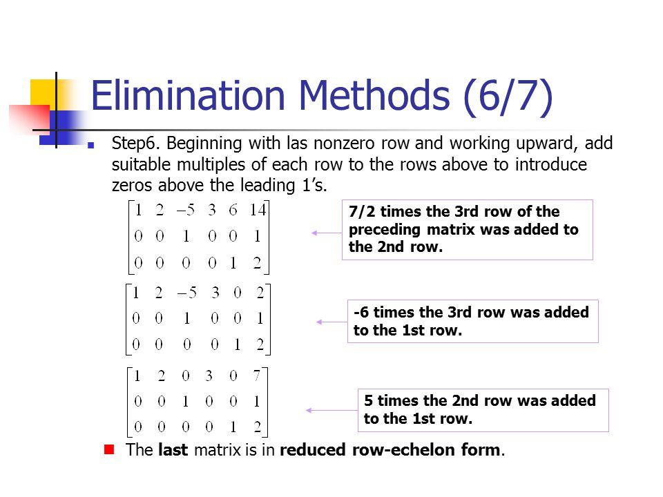 Elimination Methods (6/7)