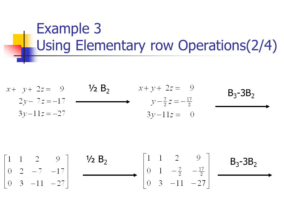 Example 3 Using Elementary row Operations(2/4)