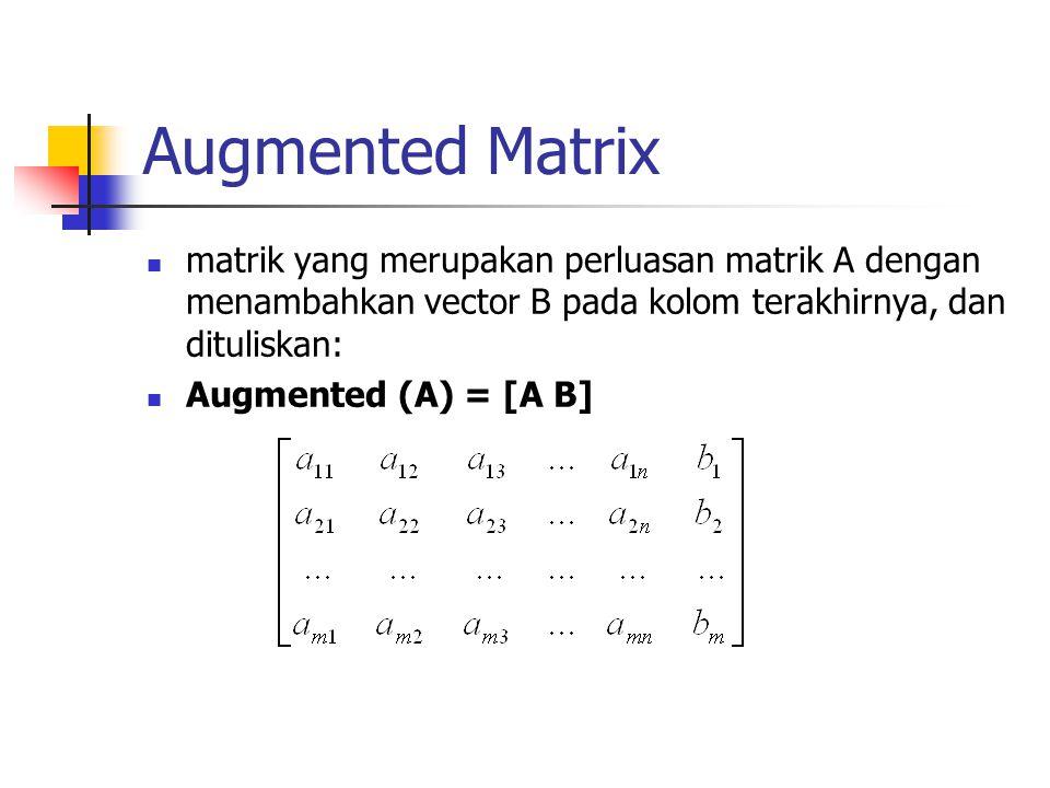 Augmented Matrix matrik yang merupakan perluasan matrik A dengan menambahkan vector B pada kolom terakhirnya, dan dituliskan: