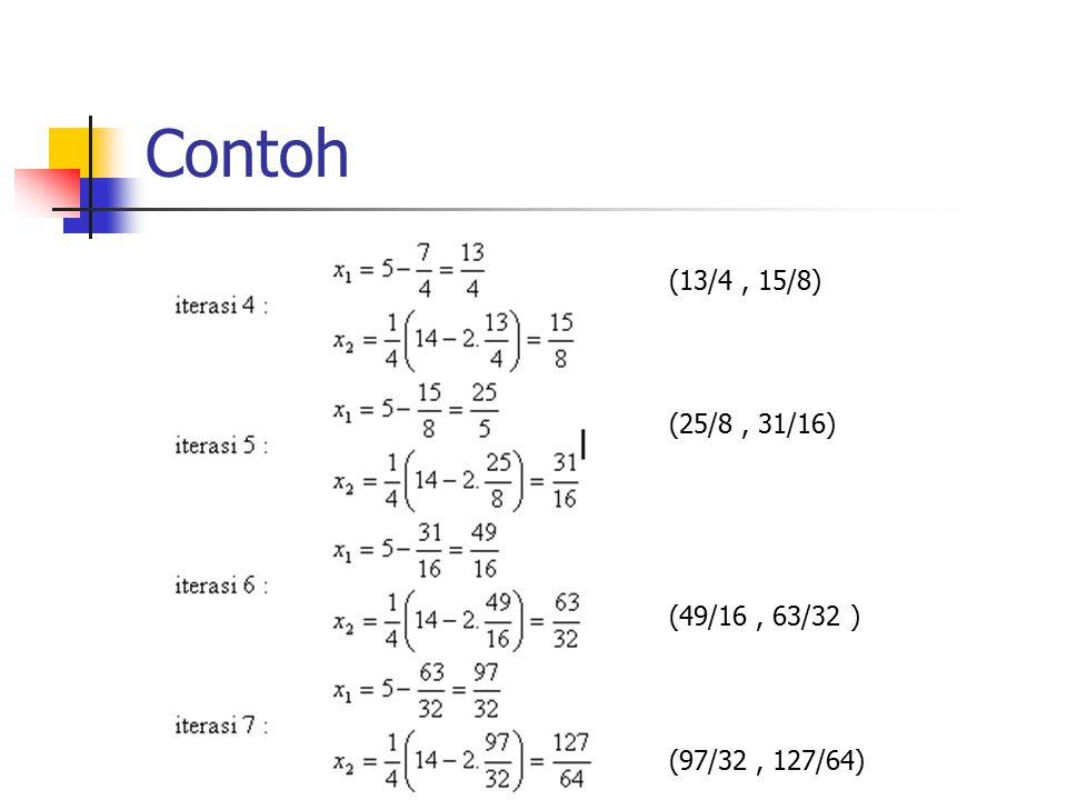 Contoh (13/4 , 15/8) (25/8 , 31/16) (49/16 , 63/32 ) (97/32 , 127/64)