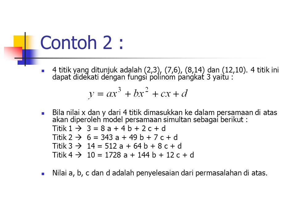 Contoh 2 : 4 titik yang ditunjuk adalah (2,3), (7,6), (8,14) dan (12,10). 4 titik ini dapat didekati dengan fungsi polinom pangkat 3 yaitu :