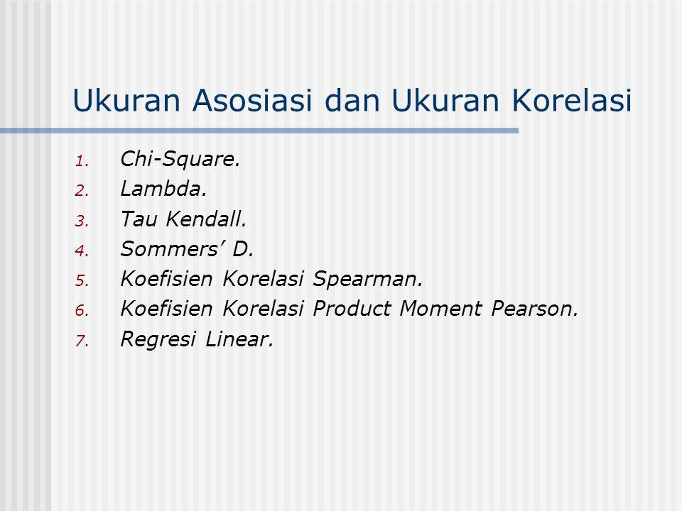 Ukuran Asosiasi dan Ukuran Korelasi