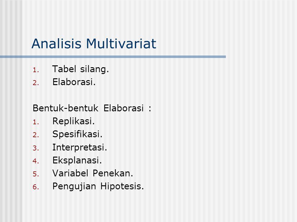 Analisis Multivariat Tabel silang. Elaborasi.