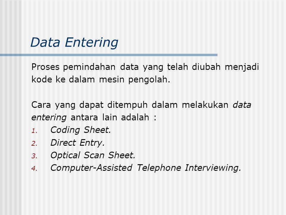 Data Entering Proses pemindahan data yang telah diubah menjadi