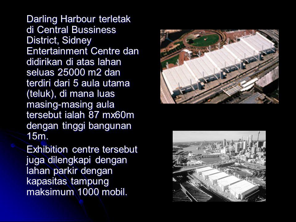 Darling Harbour terletak di Central Bussiness District, Sidney Entertainment Centre dan didirikan di atas lahan seluas 25000 m2 dan terdiri dari 5 aula utama (teluk), di mana luas masing-masing aula tersebut ialah 87 mx60m dengan tinggi bangunan 15m.