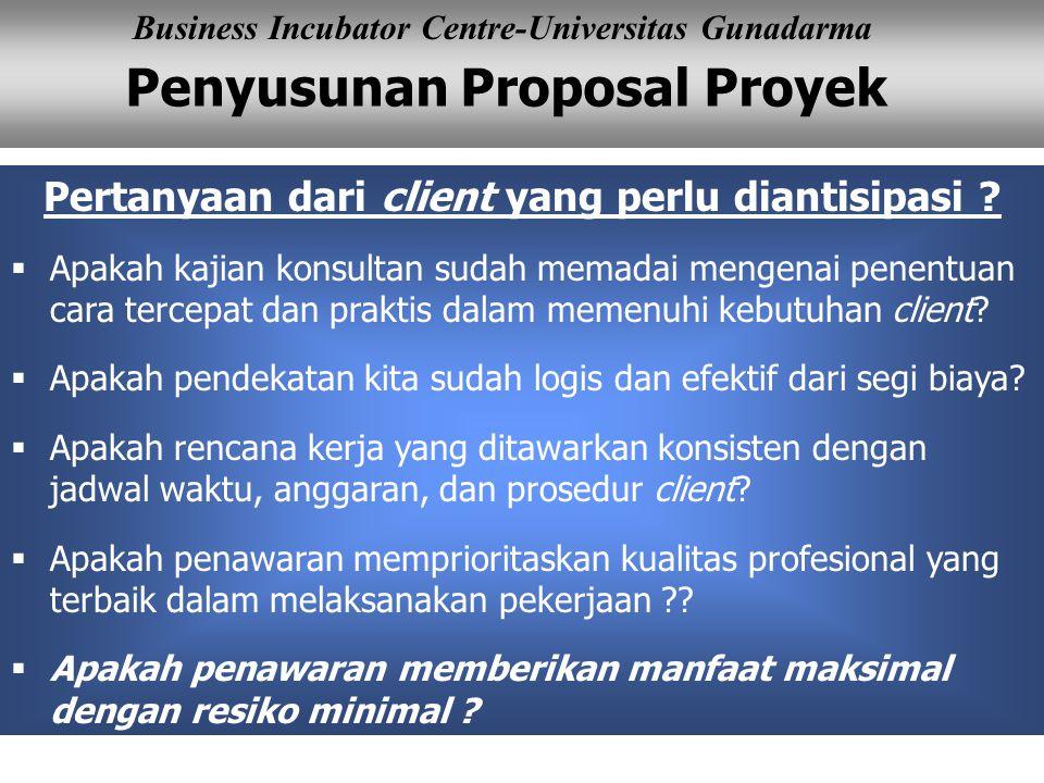 Pertanyaan dari client yang perlu diantisipasi