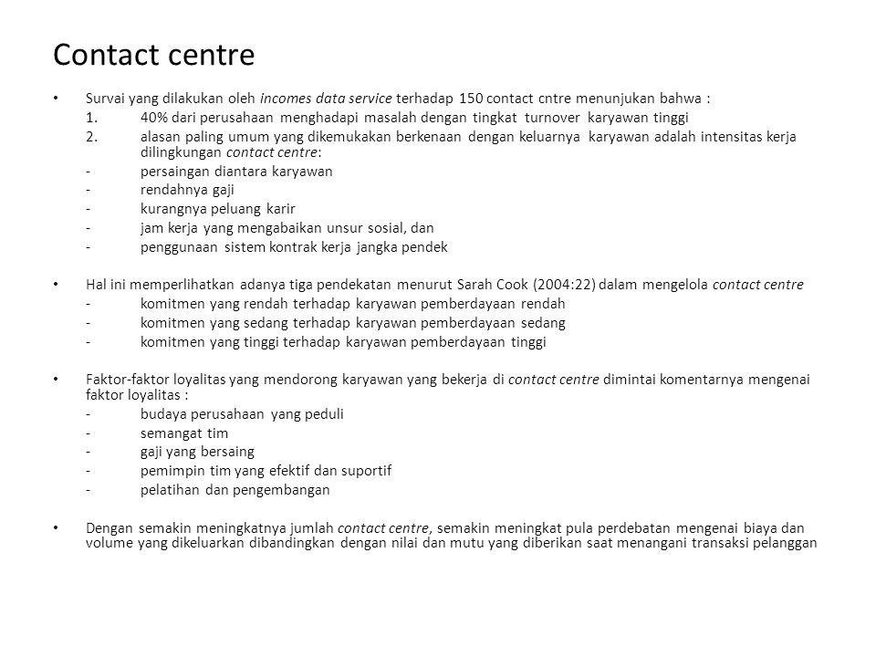Contact centre Survai yang dilakukan oleh incomes data service terhadap 150 contact cntre menunjukan bahwa :