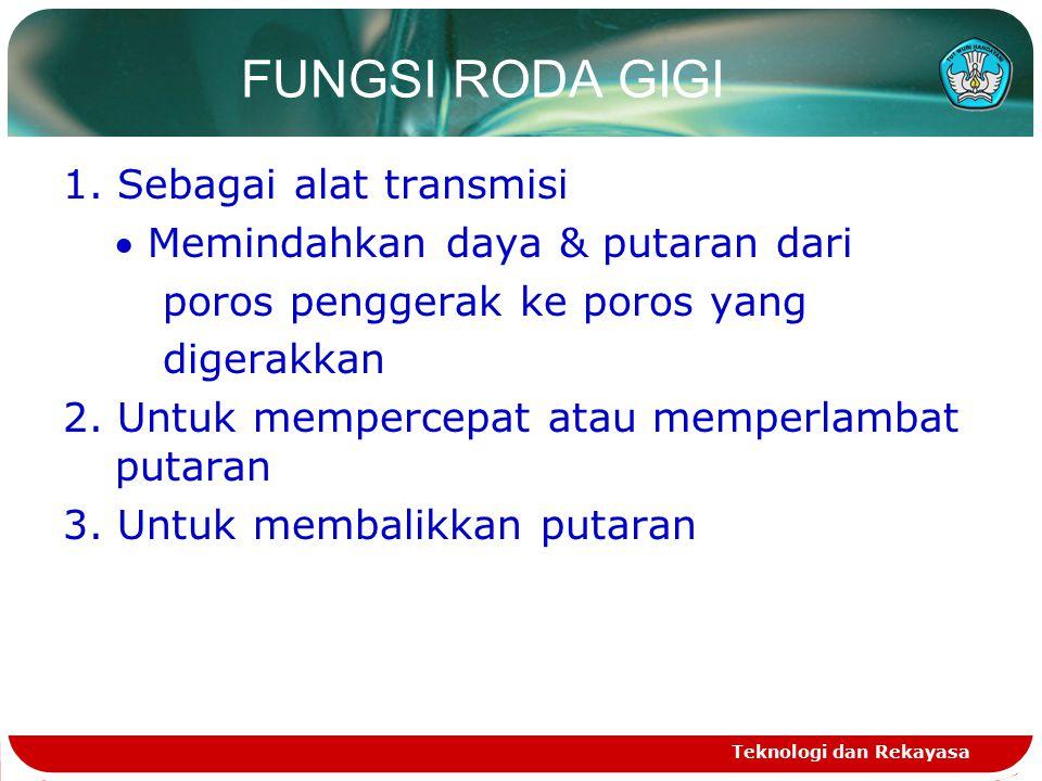 FUNGSI RODA GIGI 1. Sebagai alat transmisi