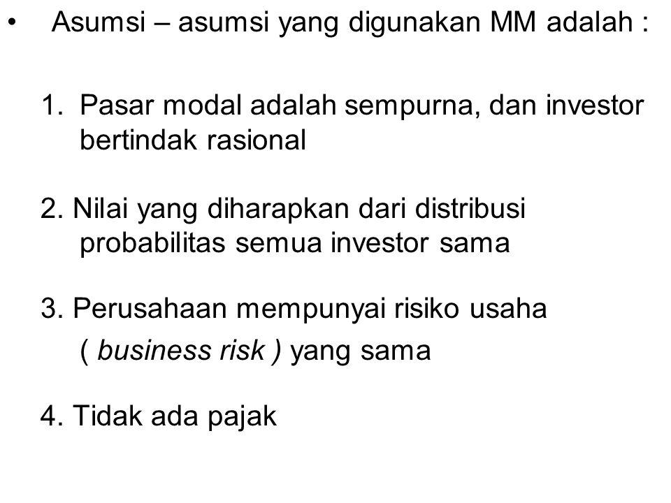 Asumsi – asumsi yang digunakan MM adalah :