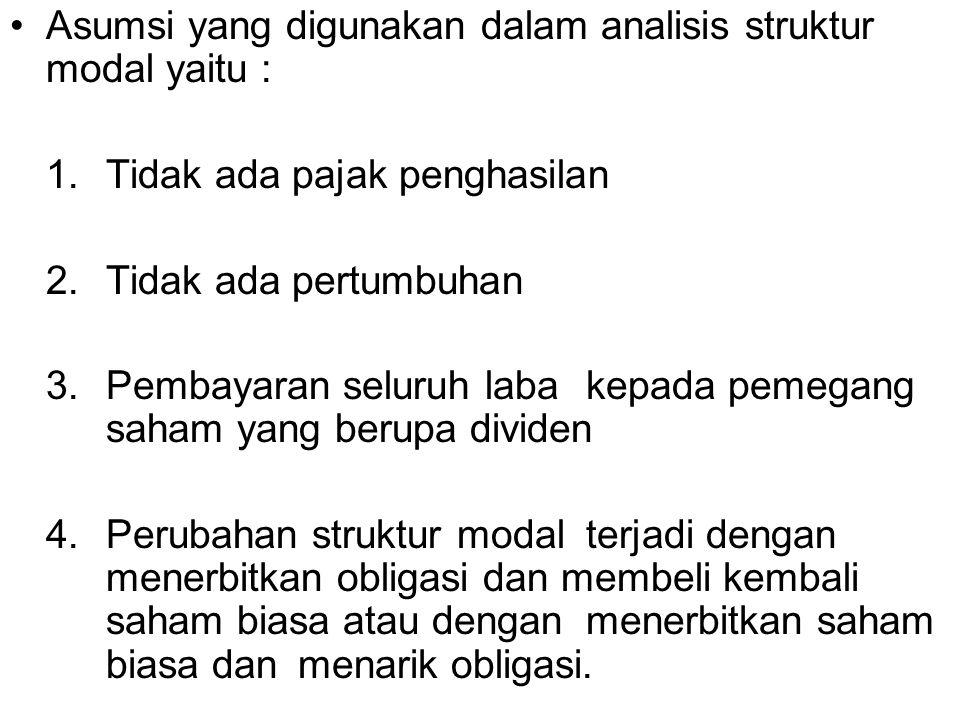 Asumsi yang digunakan dalam analisis struktur modal yaitu :