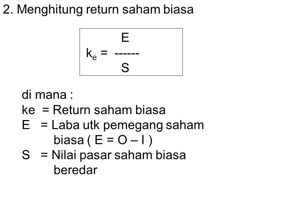 2. Menghitung return saham biasa