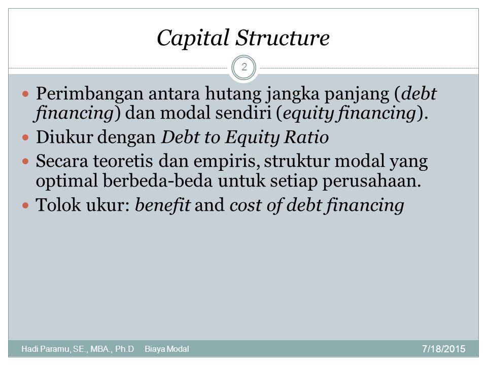 Capital Structure Perimbangan antara hutang jangka panjang (debt financing) dan modal sendiri (equity financing).