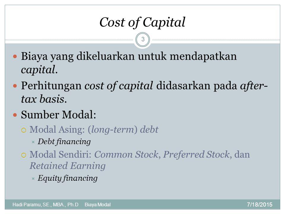 Cost of Capital Biaya yang dikeluarkan untuk mendapatkan capital.