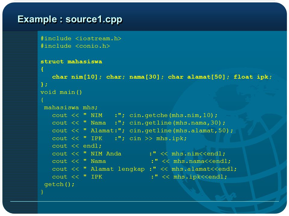 Example : source1.cpp #include <iostream.h>