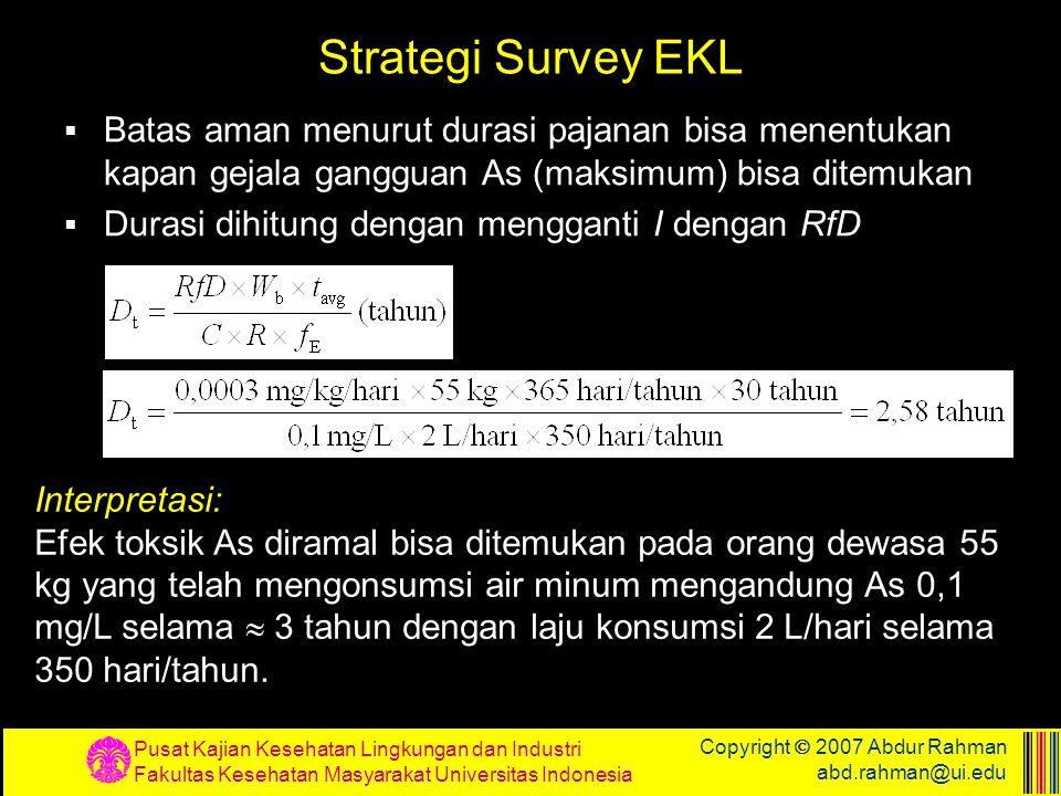 Strategi Survey EKL Batas aman menurut durasi pajanan bisa menentukan kapan gejala gangguan As (maksimum) bisa ditemukan.