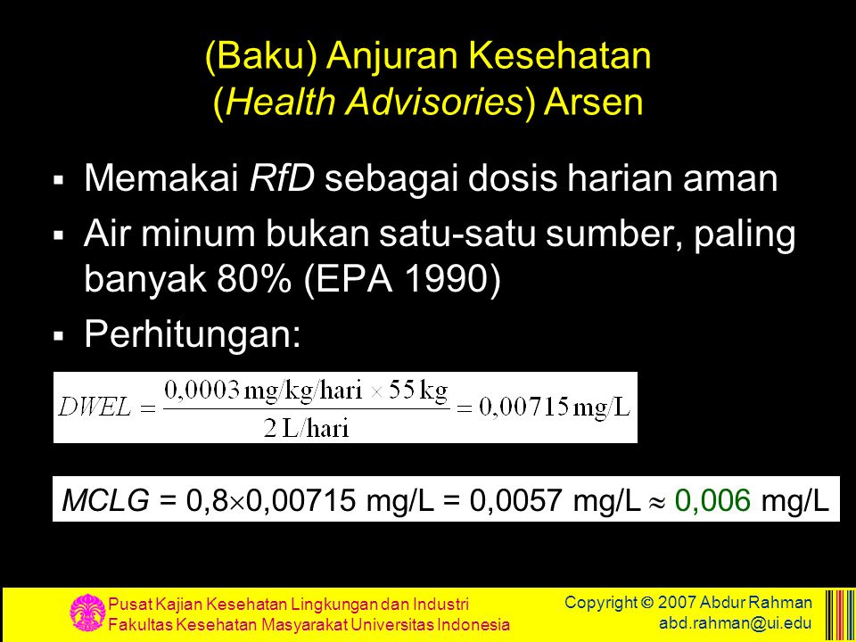 (Baku) Anjuran Kesehatan (Health Advisories) Arsen