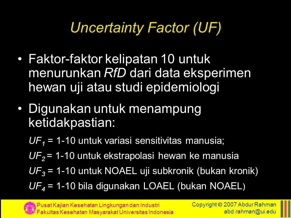 Uncertainty Factor (UF)