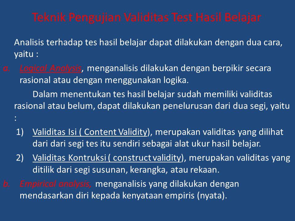 Teknik Pengujian Validitas Test Hasil Belajar