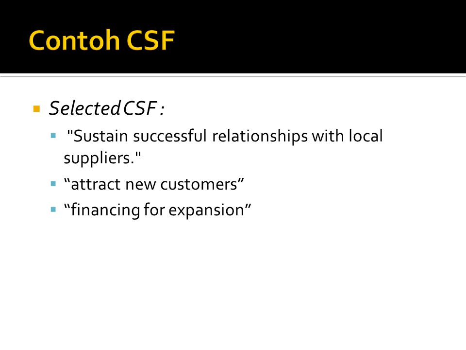 Contoh CSF Selected CSF :