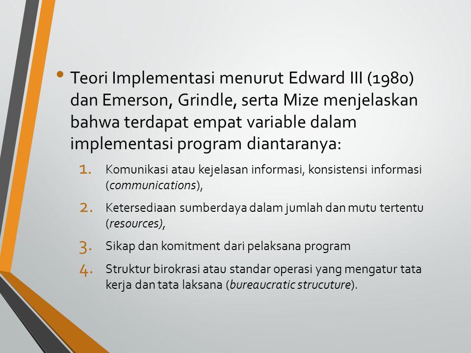 Teori Implementasi menurut Edward III (1980) dan Emerson, Grindle, serta Mize menjelaskan bahwa terdapat empat variable dalam implementasi program diantaranya: