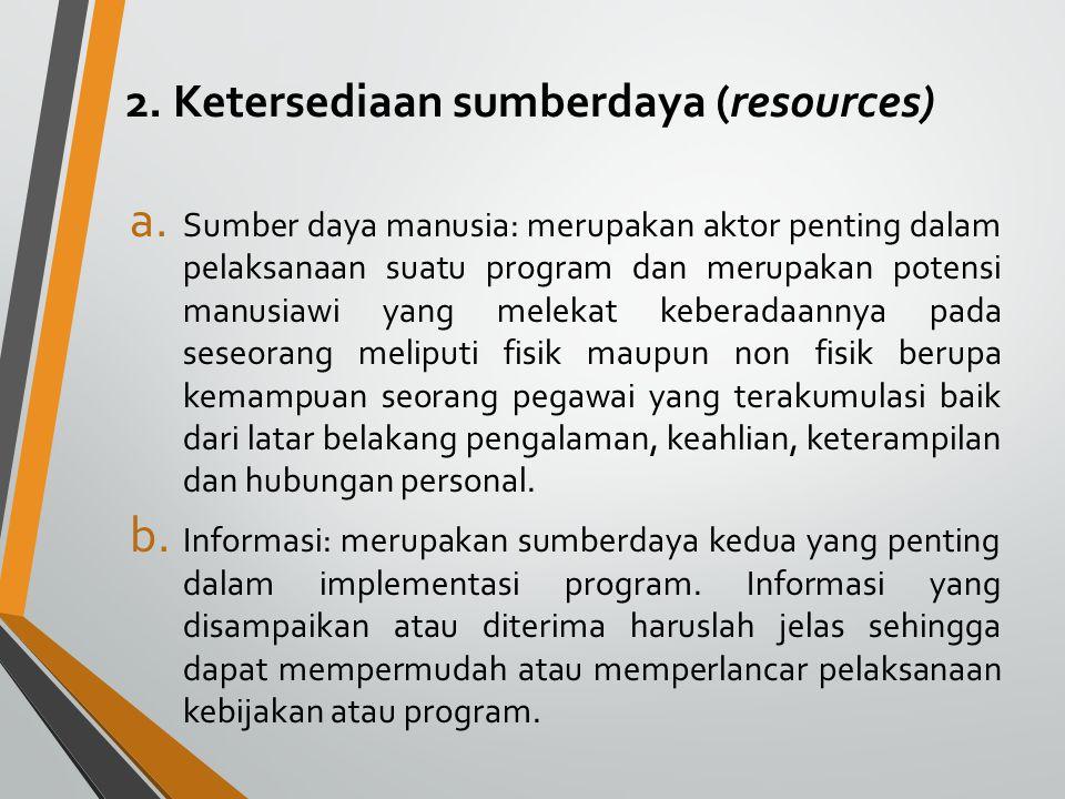 2. Ketersediaan sumberdaya (resources)