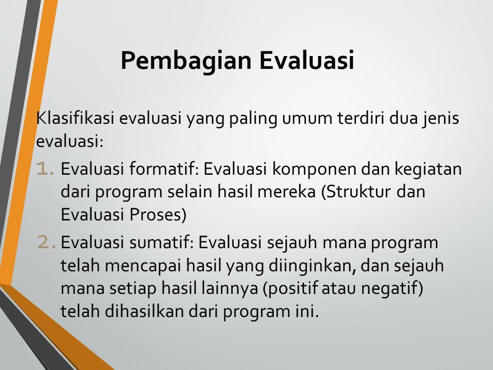 Pembagian Evaluasi Klasifikasi evaluasi yang paling umum terdiri dua jenis evaluasi: