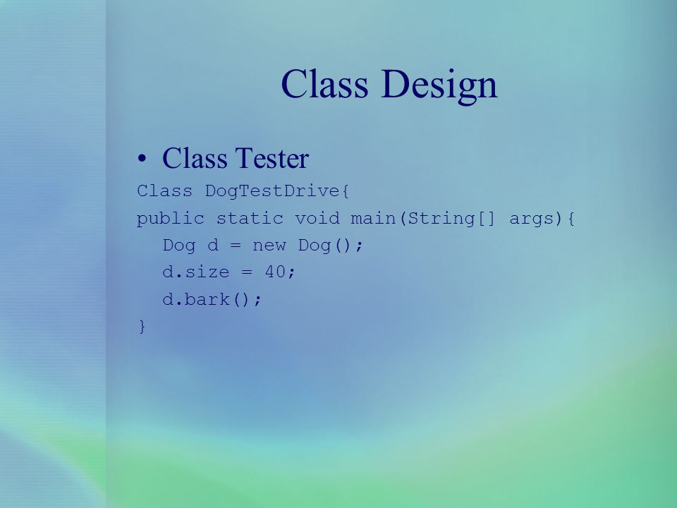 Class Design Class Tester Class DogTestDrive{