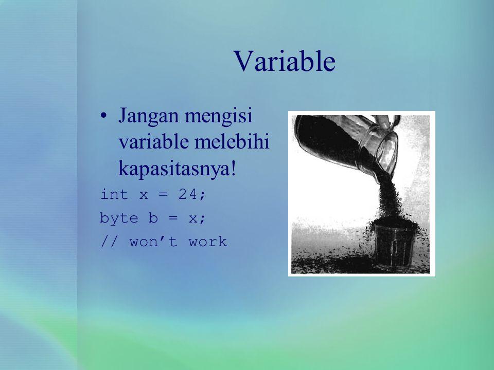 Variable Jangan mengisi variable melebihi kapasitasnya! int x = 24;