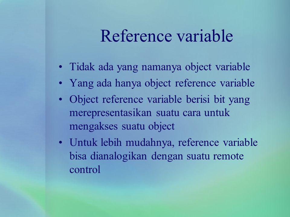 Reference variable Tidak ada yang namanya object variable