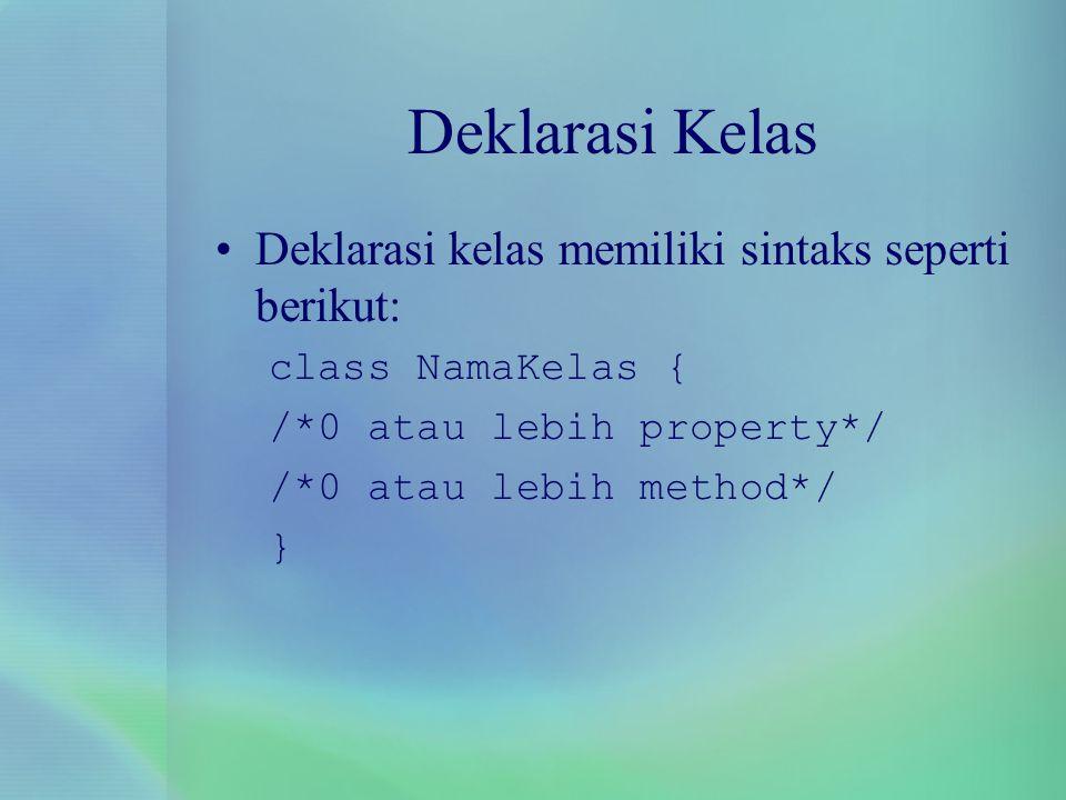 Deklarasi Kelas Deklarasi kelas memiliki sintaks seperti berikut: