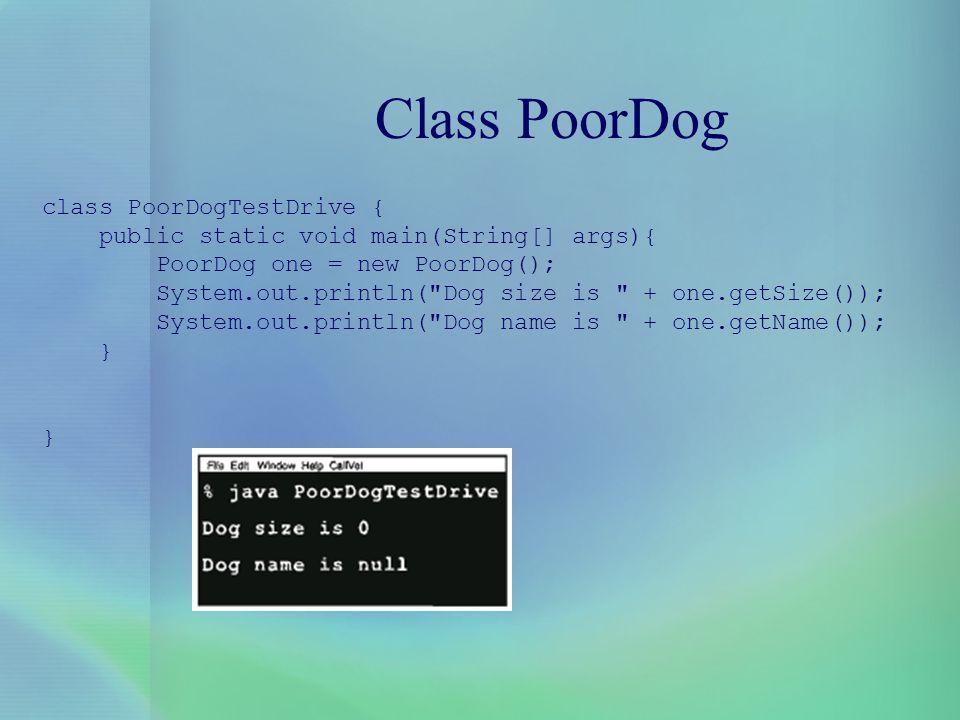 Class PoorDog class PoorDogTestDrive {