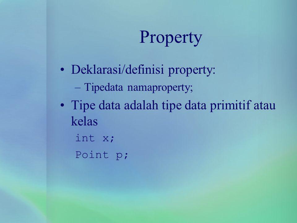 Property Deklarasi/definisi property: