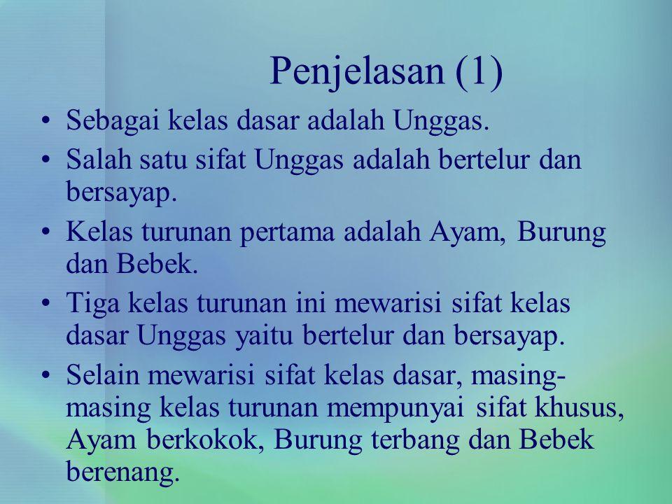 Penjelasan (1) Sebagai kelas dasar adalah Unggas.