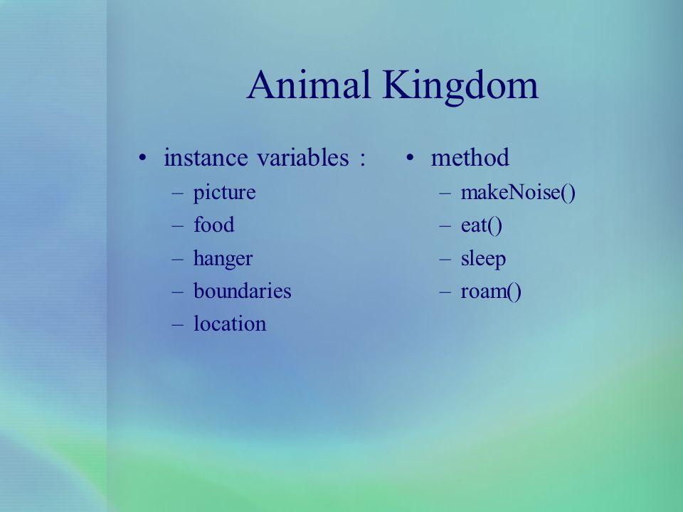 Animal Kingdom instance variables : method picture food hanger