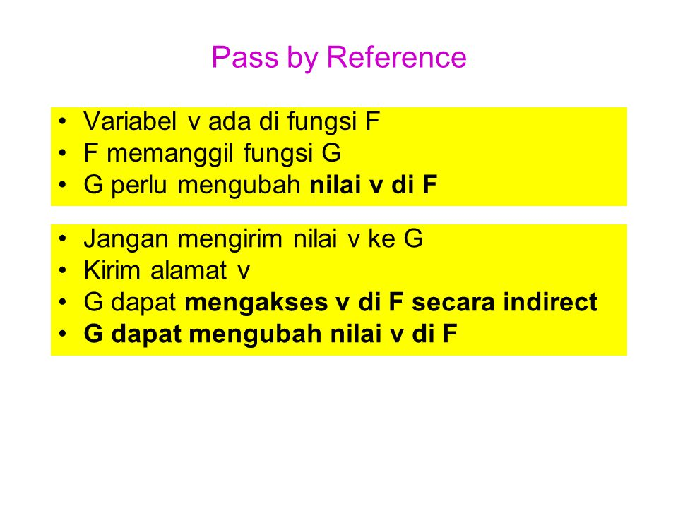 Pass by Reference Variabel v ada di fungsi F F memanggil fungsi G