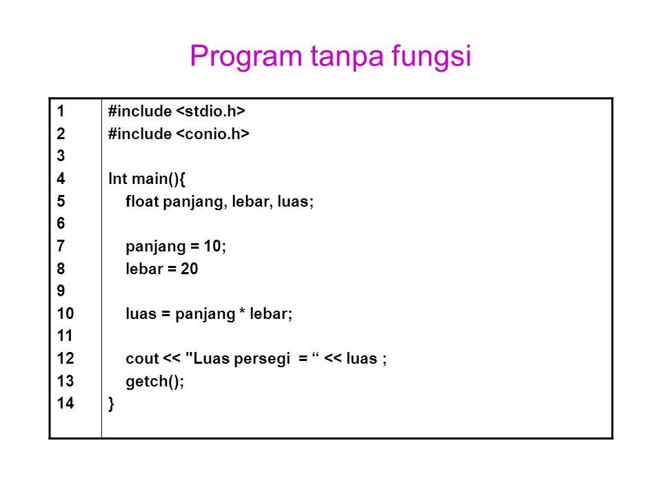 Program tanpa fungsi 1. 2. 3. 4. 5. 6. 7. 8. 9. 10. 11. 12. 13. 14. #include <stdio.h>