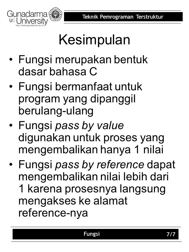 Kesimpulan Fungsi merupakan bentuk dasar bahasa C