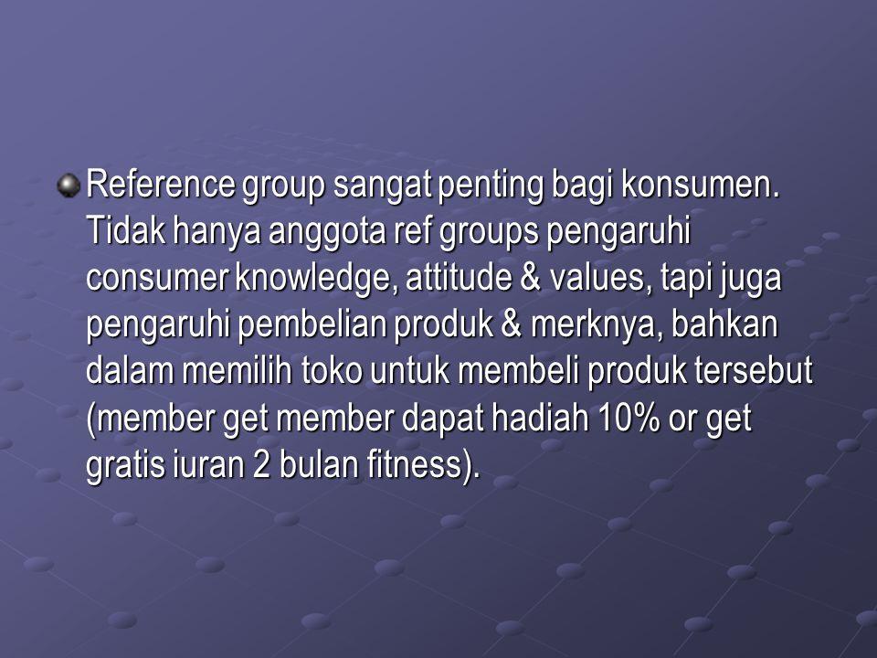 Reference group sangat penting bagi konsumen