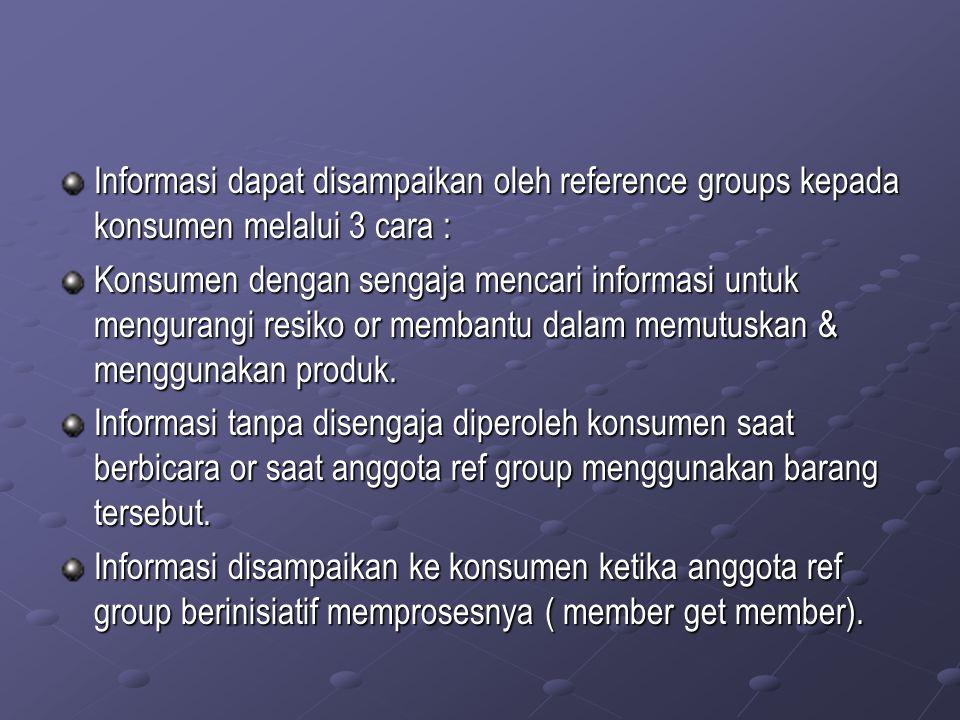 Informasi dapat disampaikan oleh reference groups kepada konsumen melalui 3 cara :