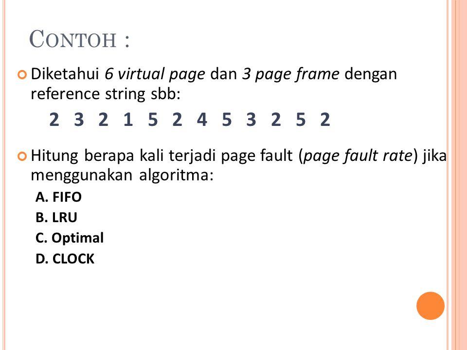 Contoh : Diketahui 6 virtual page dan 3 page frame dengan reference string sbb: 2 3 2 1 5 2 4 5 3 2 5 2.