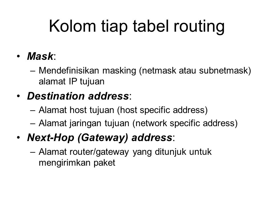 Kolom tiap tabel routing