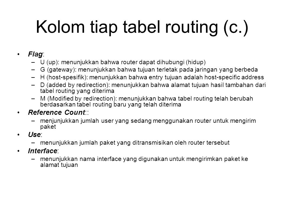 Kolom tiap tabel routing (c.)