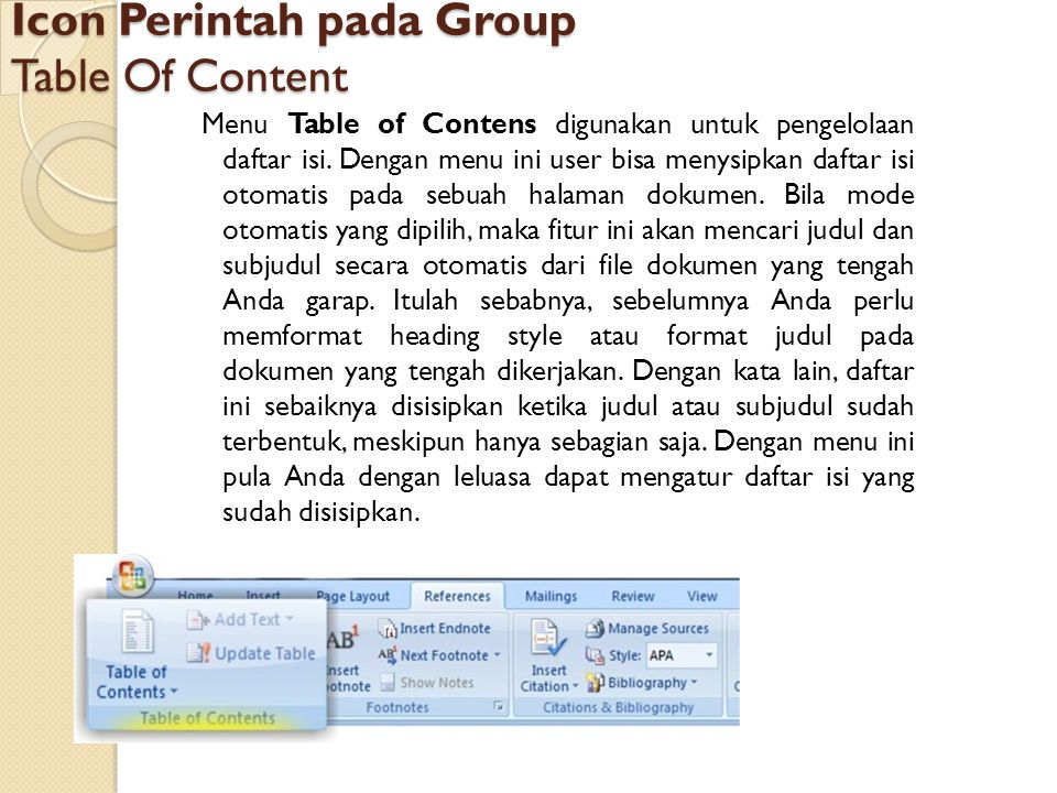 Icon Perintah pada Group Table Of Content