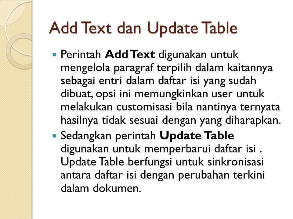 Add Text dan Update Table
