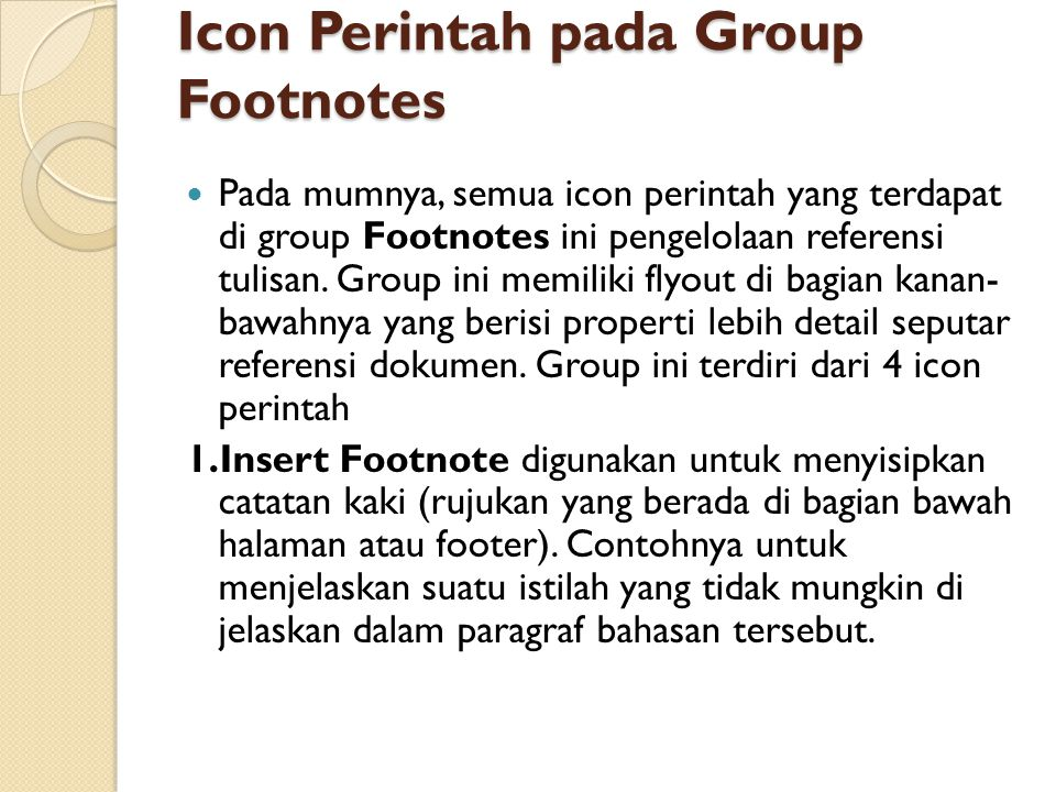 Icon Perintah pada Group Footnotes