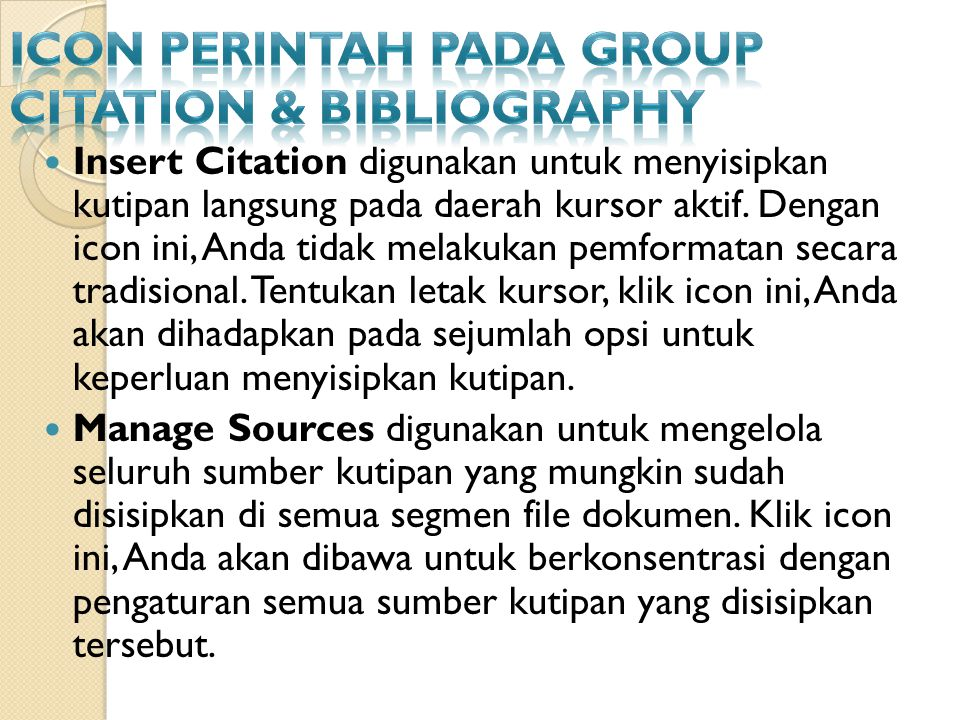 Icon Perintah pada Group Citation & Bibliography