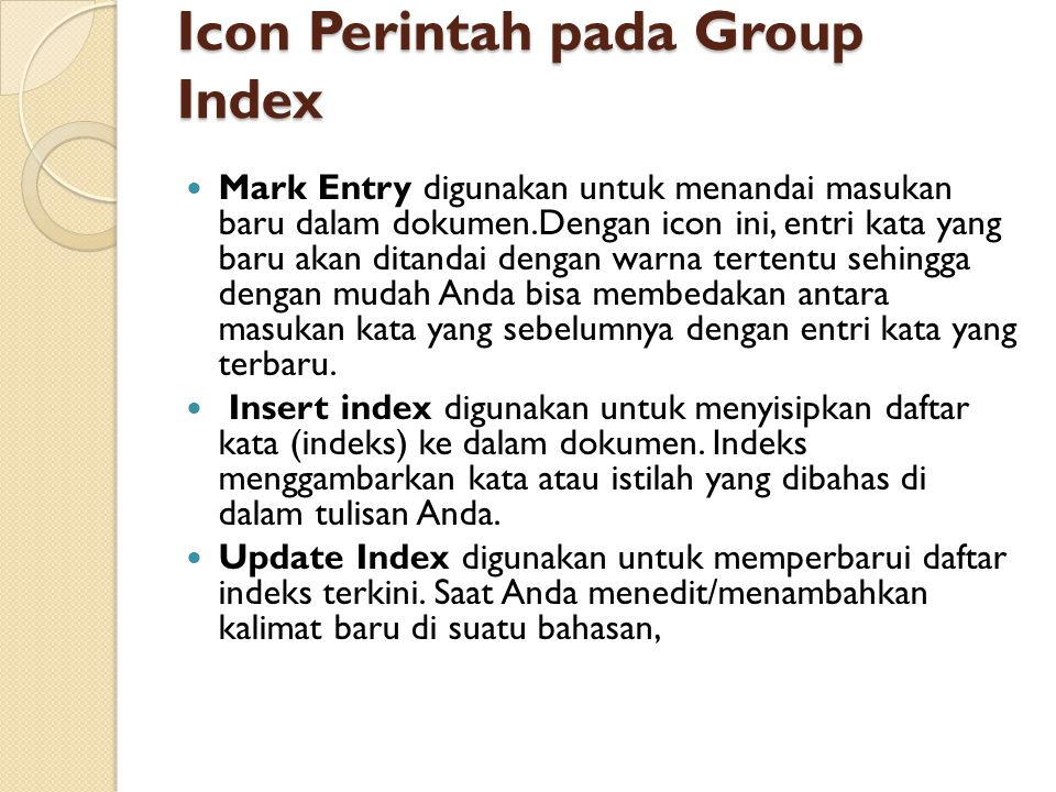 Icon Perintah pada Group Index