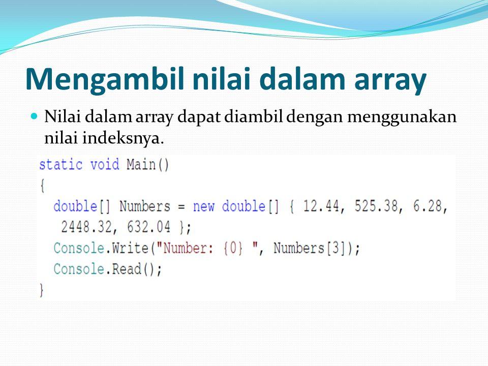 Mengambil nilai dalam array